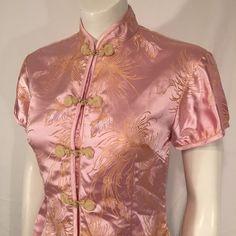 Vintage Pink Cheongsam Chinese Shirt Short Sleeve with Chrysanthemums Medium M by CarolinaThriftChick on Etsy