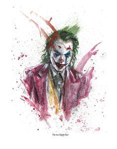 "Joker ""Put on a happy face"" signed art print Batman Comic Art, Gotham Batman, Batman Comics, Dc Comics, Batman Robin, Joker Iphone Wallpaper, Graffiti Wallpaper, Joker Wallpapers, Joker Pics"