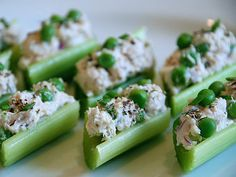 {finger food} chicken salad in celery ribs • cute idea for lunch boxes.  I'd do tuna!