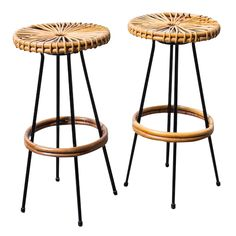 850. Pair of Wire and Bamboo Bar Stools by Rohe Noordwolde | From a unique collection of antique and modern stools at https://www.1stdibs.com/furniture/seating/stools/