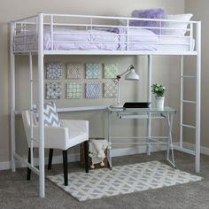 Premium Metal Twin Loft Bed - Silver - Saracina Home, Light Silver Loft Bunk Beds, Metal Bunk Beds, Kids Bunk Beds, Girl Loft Beds, Loft Beds For Teens, Casa Loft, White Bedding, Queen Bedding, My New Room