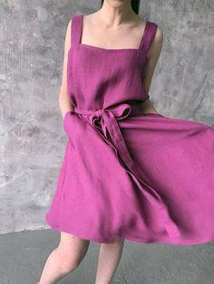 9de26863306 Linen loose sleeveless dress with belt and pockets wide