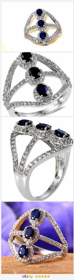 Blue Sapphire 3 stone North South Ring 3.00 carats size 8  50% OFF #ebay http://stores.ebay.com/JEWELRY-AND-GIFTS-BY-ALICE-AND-ANN