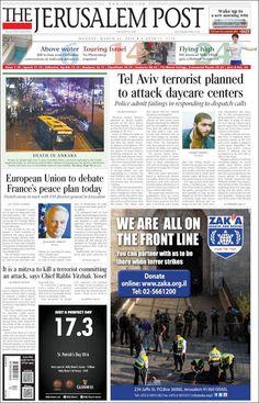 #20160314 #ISRAEL #JERUSALEM Monday MAR 14 2016 #TheJerusalemPost http://en.kiosko.net/il/2016-03-14/np/jerusalem_post.html