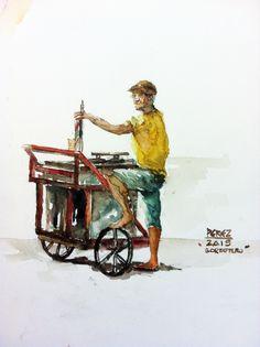 A sorbetero (ice cream vendor) Philippines, Ice Cream, Paintings, Birthday, Illustration, Tips, Ideas, Art, No Churn Ice Cream