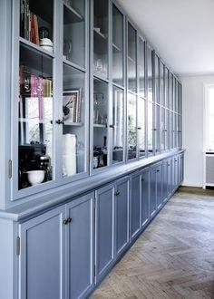 #herringbone floors + soft #blue painted cabinets