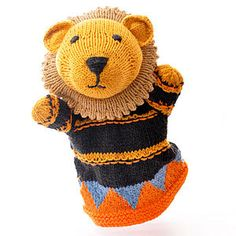 Hand Knitted Organic Cotton Lion Puppet - christmas gifts