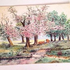 【ninedoorsvintage】さんのInstagramをピンしています。 《SALE - Antique 1930s colored pencil drawing of pink blooming cherry trees in a cow pasture, signed. 8x10, now $10 + mailing 🌸 Available in the $5-$15 section of my Etsy shop (link in bio) or to buy it here DM your email & zip for a PayPal invoice. Ships from Portland, OR》