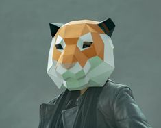 Template for paper masks by SHAMEcover on Etsy 3d Paper, Paper Toys, Paper Gifts, Geometric Origami, Diy Origami, Animal Masks, Animal Heads, Origami Tiger, Tiger Face Mask