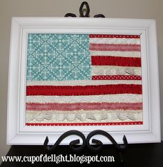 Cup of Delight: Ribbon and Lace Flag Art {Delightfully Creative}