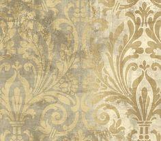 """Taupe """"worn"""" damask wallpaper"""