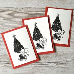 Linocut Christmas postcards - Pack of three - Tarjetas de navidad Christmas Postcards, Unique Jewelry, Handmade Gifts, Etsy, Christmas Cards, Hand Made Gifts, Craft Gifts, Homemade Gifts
