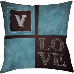 Thumbprintz Chalkboard Monogram Blue Decorative Pillows