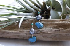 Turquoise&silve color pearl*Pierce   koaniani