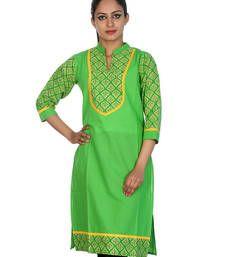 Buy Parrot Green Leaves Pattern Cotton Printed Women Kurti tunic online