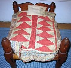 Antique Flying Geese Doll Quilt On Old Rope Bed.