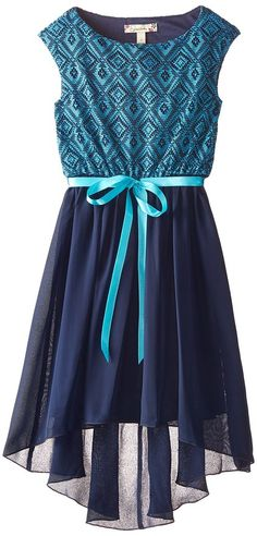 Speechless Big Girls' Lace To Chiffon High Low Dress, Turquoise Navy, 7