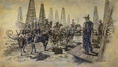Texas Transition, giclee print from the original oil painting by Virgil C. Stephens Cowboy Artwork, Longhorn Cattle, Rodeo Cowboys, Oil And Gas, Western Art, Beautiful Paintings, Painting & Drawing, Westerns, Giclee Print