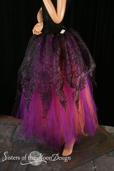 8e95a0c828 Adult tutu skirt Streamer floor length formal bridal spider witch halloween  prom fairy wedding --You Choose Size -- Sisters of the Moon