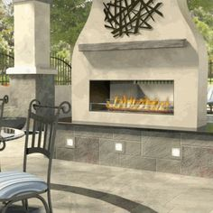 Ask a Fireplace Specialist:  Modern technology and sleek, state-of-the art design combine to bring a centuries-old household amenity into today's contemporary homes and lifestyles. Convenient and spontaneous, the electronic ignition replaces the match and kindling with this linear gas fireplace designed for the great outdoors. The see-thru design allows everyone to enjoy the flickering flames. It is designed with weather resistant materials - brushed stainless steel - to keep the elements…
