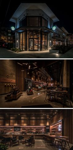 11 Starbucks Coffee Shops From Around The World // This Starbucks location on La Brea Avenue in Los Angeles features a number of unique design details including two long bars that allow for two kinds of customers - those who are running in and out, and those who want to spend some time learning about coffee and the company.