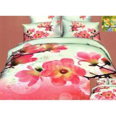 Bielo ružová posteľná súprava s motívom kvetov