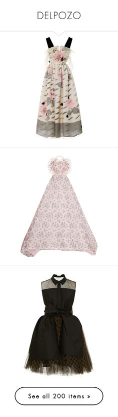 """""""DELPOZO"""" by bliznec-anna ❤ liked on Polyvore featuring words, logo, dresses, gowns, v neck dress, ruched dress, sheer gown, sheer dress, full a line skirt and pink evening dress"""
