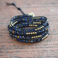 Lapis mix Wrap Bracelet on Black cord Boho bracelet Beadwork