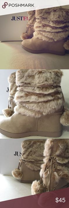 """JUST FAB Fuzzy Egritte Fur Boots in Tan, Women's 9 JUST FAB Fuzzy Egritte Fur Boots in Tan, Women's 9 *NIB*. Brand New  Never Worn These babies are like blankets for your feet! They feature a faux suede and faux fur construction with a wrap around pom tie detail.  Shoe Details Approx. Heel Height: 4.25"""" Approx. Platform Height: N/A Approx. Shaft Height: N/A Approx. Calf Circumference: N/A Synthetic Upper Man Made Sole Imported JustFab Shoes"""