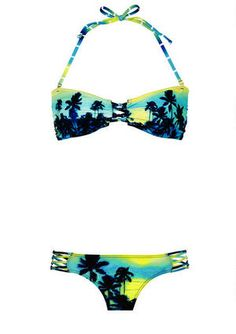 Palm Ombre Aztec Macrame Bandeau Bikini Top