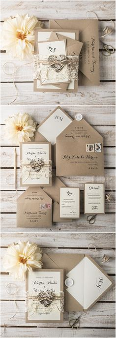 Rustic Eco Lace Wedding Invitation Suite (20), Custom Wedding Invites, Calligraphy printing, Birch bark tag
