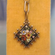 Antique Micro Mosaic silver pendant,19th century from akaham on Ruby Lane