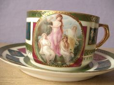 Antique hand painted tea cup and saucer set Made by ShoponSherman