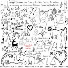 Free A HUGE set of hand-drawn Christmas and holiday doodles