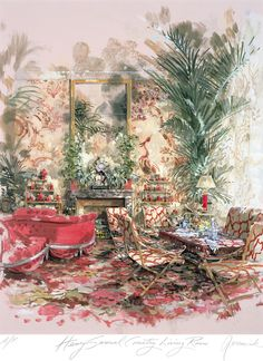 DEAN RHYS MORGAN Works on Paper - Artist Prints - Jeremiah Goodman - Henri Samuel Country Living Room