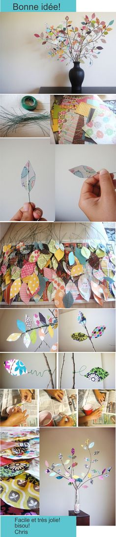 pourquoi pas un arbre de vie fait comme ça? Pretty sure I could modify this into an adorable DIY mobile (Diy Decoracion Paper Flowers) Home Crafts, Fun Crafts, Diy And Crafts, Crafts For Kids, Arts And Crafts, Leaf Crafts, Adult Crafts, Diy Flowers, Fabric Flowers