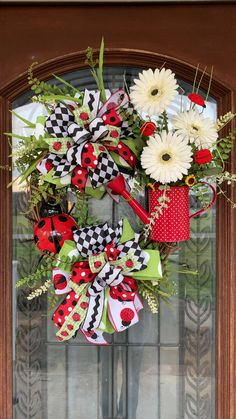 Custom made wreaths & other home decor by InTheDoorDecorbyJen - Ladybug wreath for perfect front door decor or porch decor - Diy Spring Wreath, Summer Door Wreaths, Wreaths For Front Door, Holiday Wreaths, Summer Door Decorations, Wreaths For Sale, Thanksgiving Wreaths, Front Door Decor, Wreath Crafts