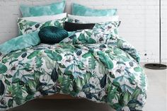 Logan & Mason's Oasis Fern Quilt Cover imbues a watercolour illustration with a tropical greenhouse vibe. King Duvet Cover Sets, Quilt Cover Sets, Queen Bed Quilts, Tropical Quilts, Tropical Greenhouses, Green Queen, European Pillows, Linen Duvet