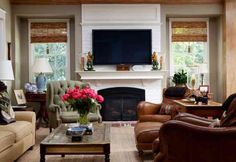 White brick fireplace and a cozy living room