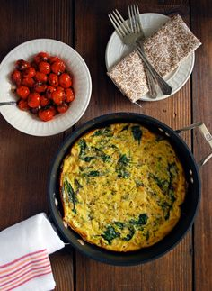 Vegetable Frittata with Balsamic Burst Tomatoes - A healthy, flavorful addition to any brunch! Full recipe at theliveinkitchen.com