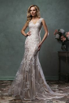 Amelia Sposa 2016 Wedding Dresses amelia sposa 2016 wedding dresses stunning cap sleeves v scallop neckline embroidered champagne gold fit flare mermaid dress pia Popular Wedding Dresses, 2016 Wedding Dresses, Bridal Dresses, Wedding Gowns, Lace Wedding, Mermaid Wedding, Dresses 2016, Party Gowns, Champagne Wedding Dresses