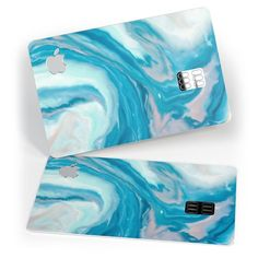 Modern Marble Aqua Mix V3 Premium Protective Decal Skin-Kit for the Apple Credit Card
