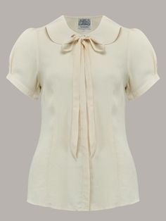 1940s Blouses and Tops 1940s Vintage Inspired Tie-Blouse in Cream by The Seamstress of Bloomsbury $52.00 AT vintagedancer.com