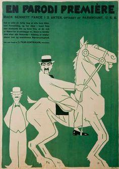 Poster by Sven Brasch, 1921, En parodi première. (Danish)