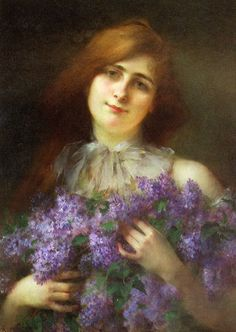 View The lilac bouquet By Sarkis Diranian; oil on canvas; Access more artwork lots and estimated & realized auction prices on MutualArt. Lilac Bouquet, Sophie Anderson, Flower Oil, Portrait Inspiration, Art Market, Art For Sale, Lady, Oil On Canvas, Artwork