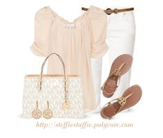 """""""Casual Chic in Blush"""" by steffiestaffie ❤ liked on Polyvore featuring Amor, Trust & Truth, Joie, MICHAEL Michael Kors, Allurez and Tory Burch"""