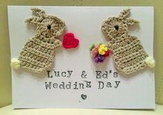 Personalised Handmade Wedding Bunny Crochet Greeting Card on Etsy, £7.95