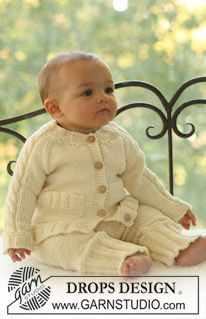 """Knitted DROPS jacket with raglan sleeve and cable pattern on sleeve and pants in """"Merino Extra Fine"""". ~ DROPS Design"""
