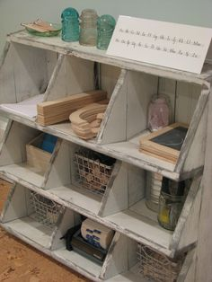 Love this idea for organizing writing supplies (or other crafty materials). OTs, look closely and you still see Handwriting Without Tears materials in the cubbies :)