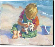Boy On The Beach Print Canvas Print featuring the painting Puppy Love by Lucelle Raad